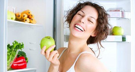 lady eating fruit