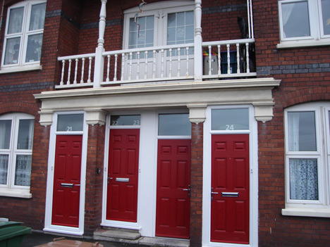 red coloured doors