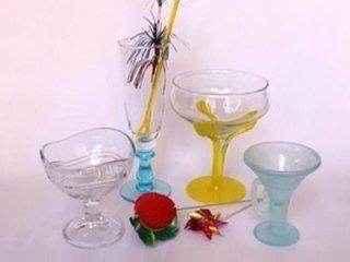 Coppe in vetro e decorazioni