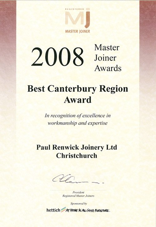 2008 Best Canterbury Region  award
