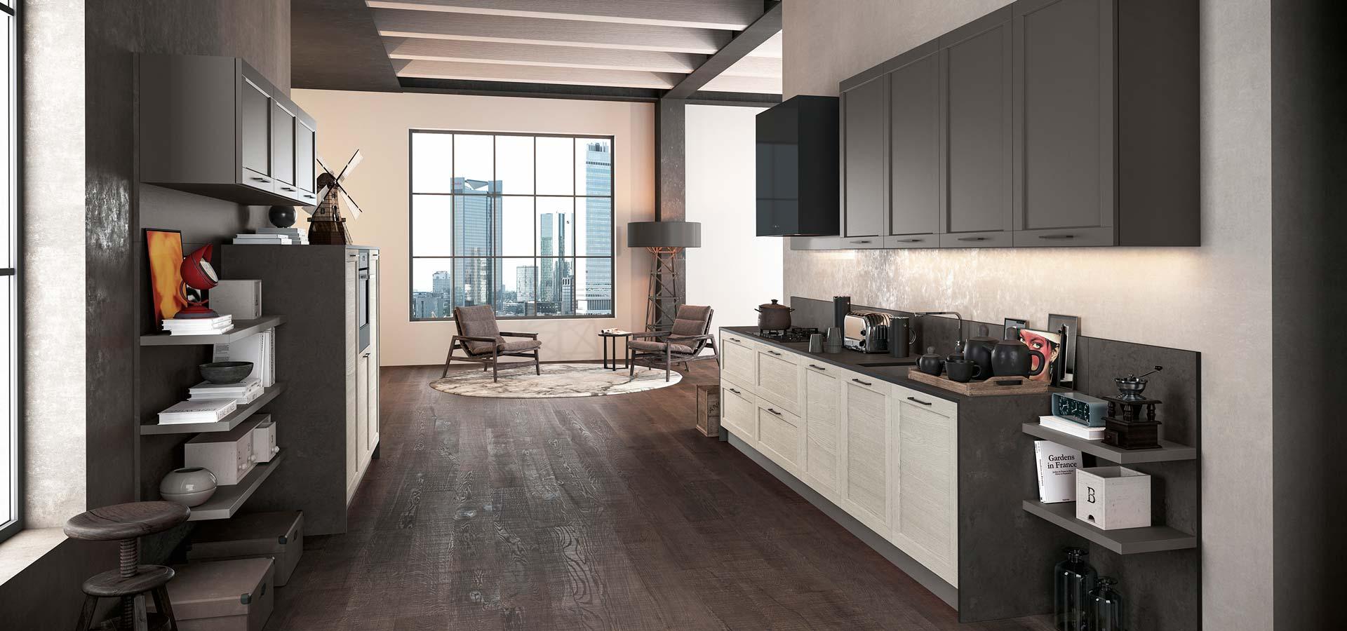 Una cucina in legno di color avorio e grigio scuro