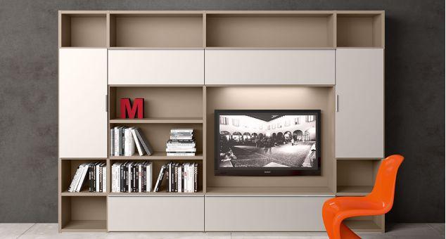 un mobile tv e una  libreria di color avorio