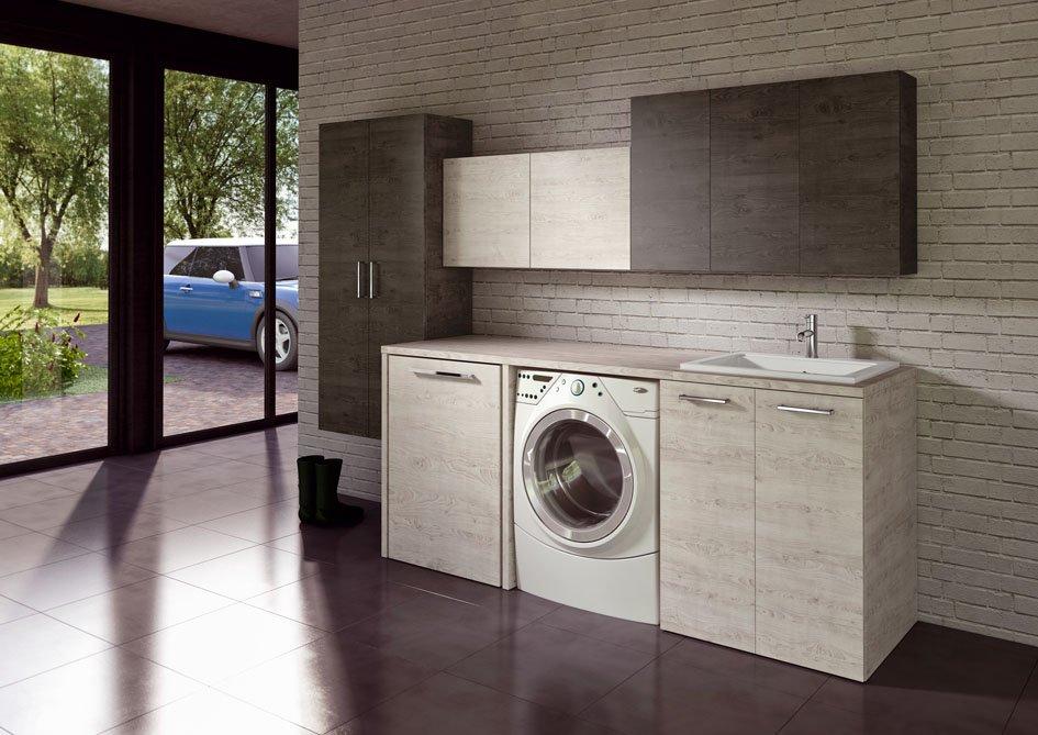 un mobile con una lavatrice e un lavandino