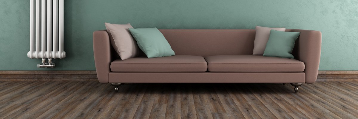 second hand city sofa in green background