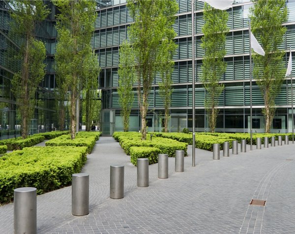 Steel bollards outside a corporate office