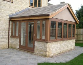 conservatory with wooden frame