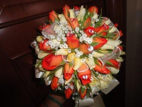 bouquet rose arancio e bianche