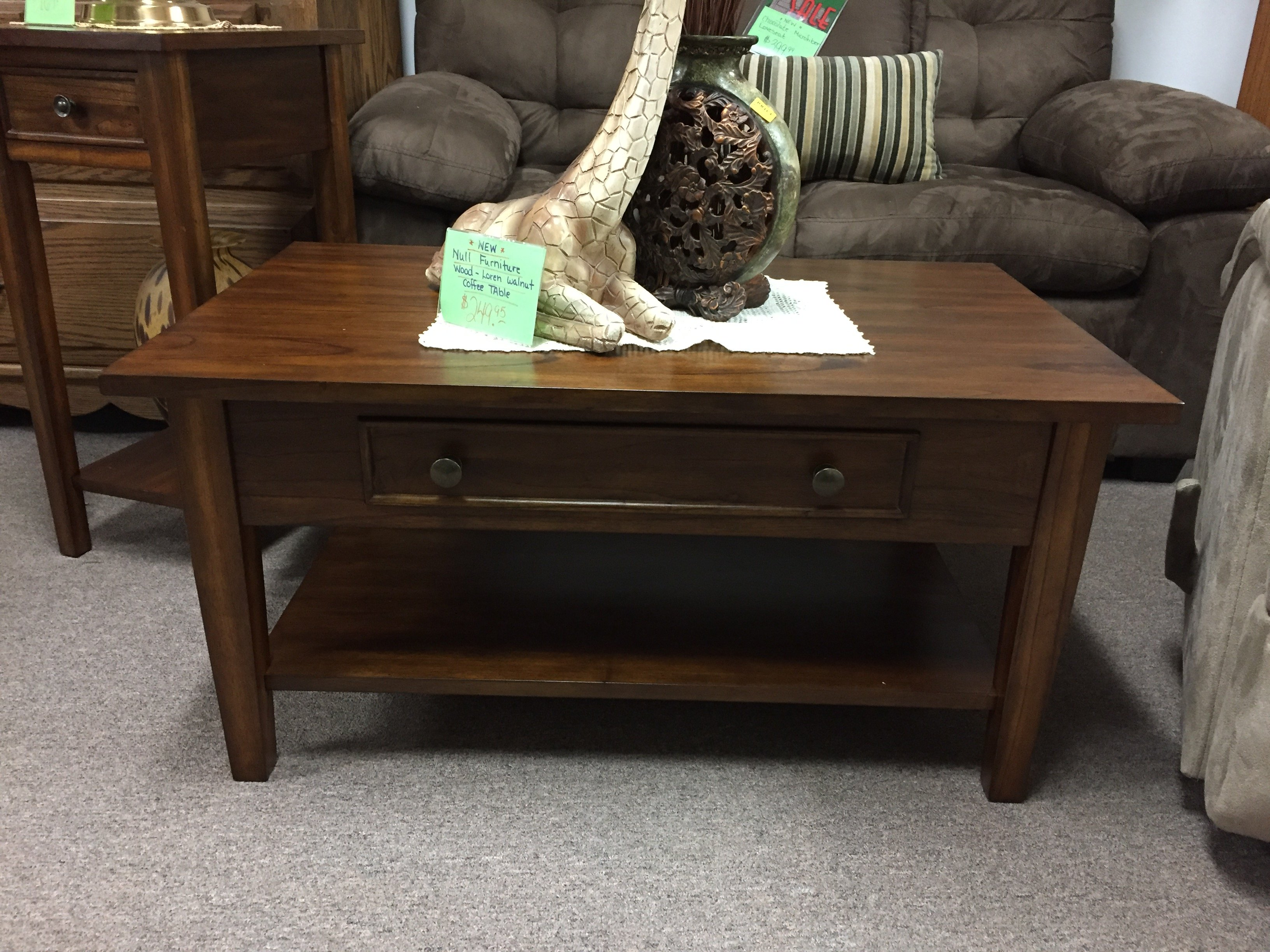 New Null Furniture Solid Wood Loren Walnut Coffee Table W/ Drawer $249.95