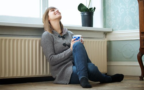 Woman enjoying cozy environment