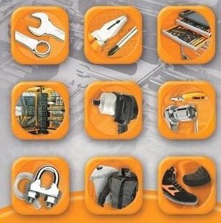 icone con immagini attrezzature da lavoro