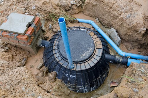 Septic tank system under maintenance in New Richmond, WI