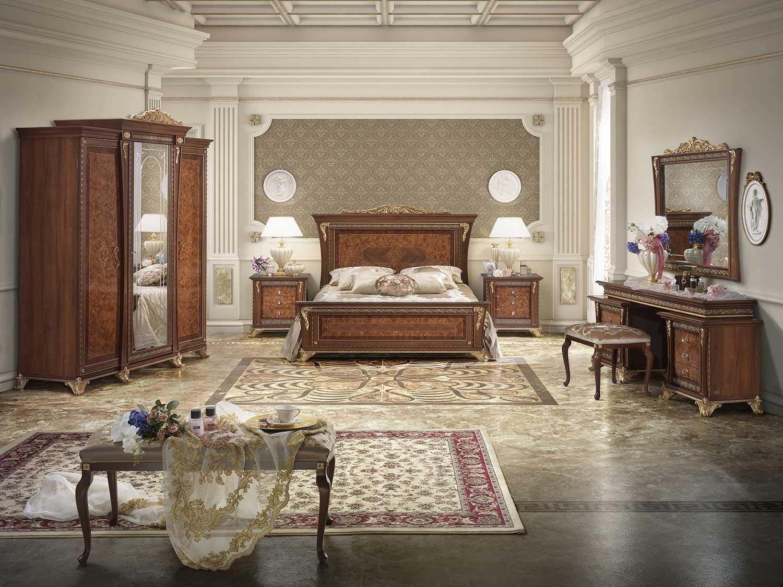 vista frontale camera da letto in legno