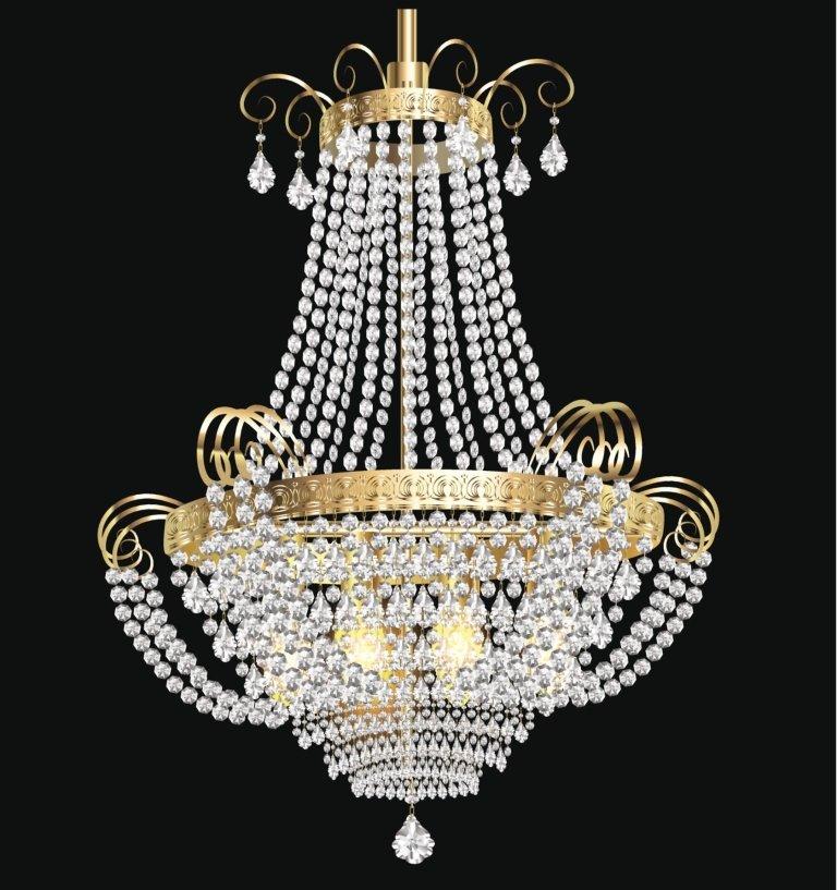lampadario con cristalli