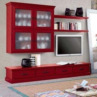 mensola rossa con televisione