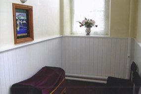 Waiting area at funeral parlour