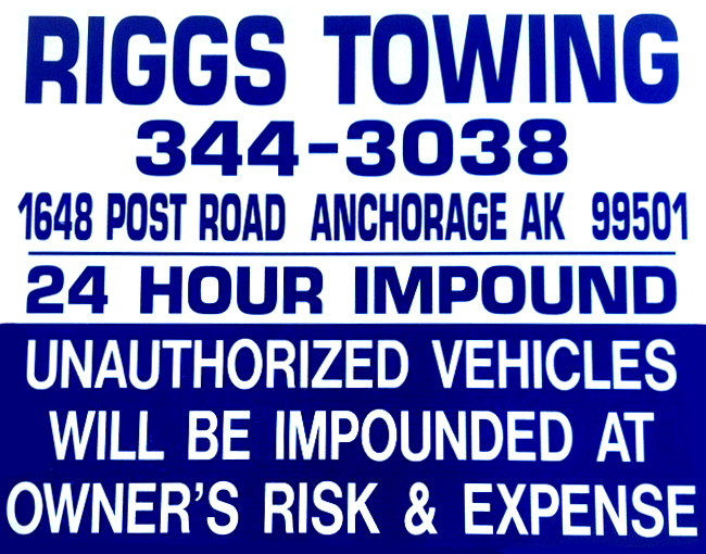 Riggs Towing Sign