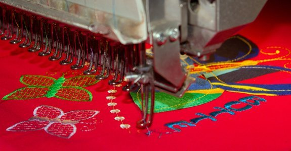 Artisan Embroidery design being embroidered