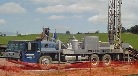 Machine being used for well drilling at the project site