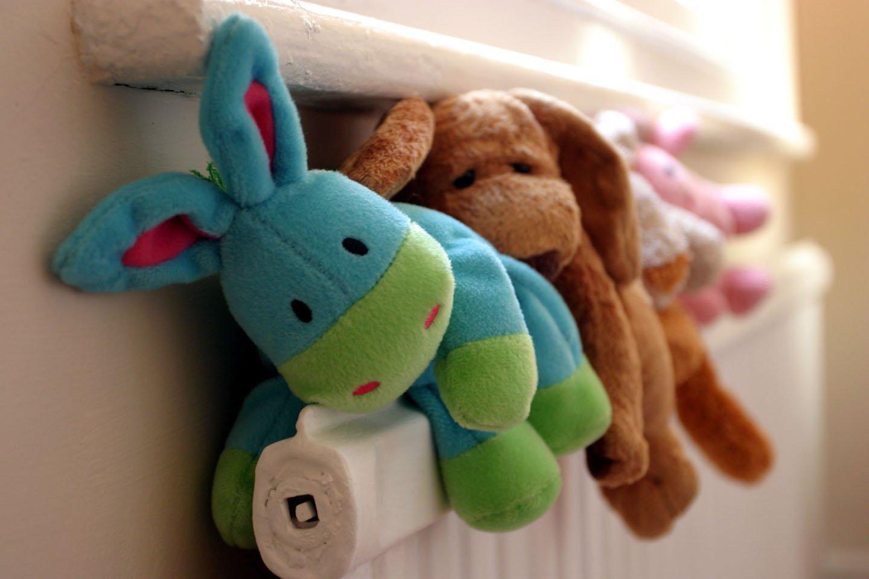 soft toys on radiator