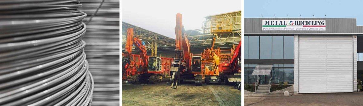 Bobina di filo metallico, Gru in azione e l'ingresso principale della Metal Recicling a Moncalieri