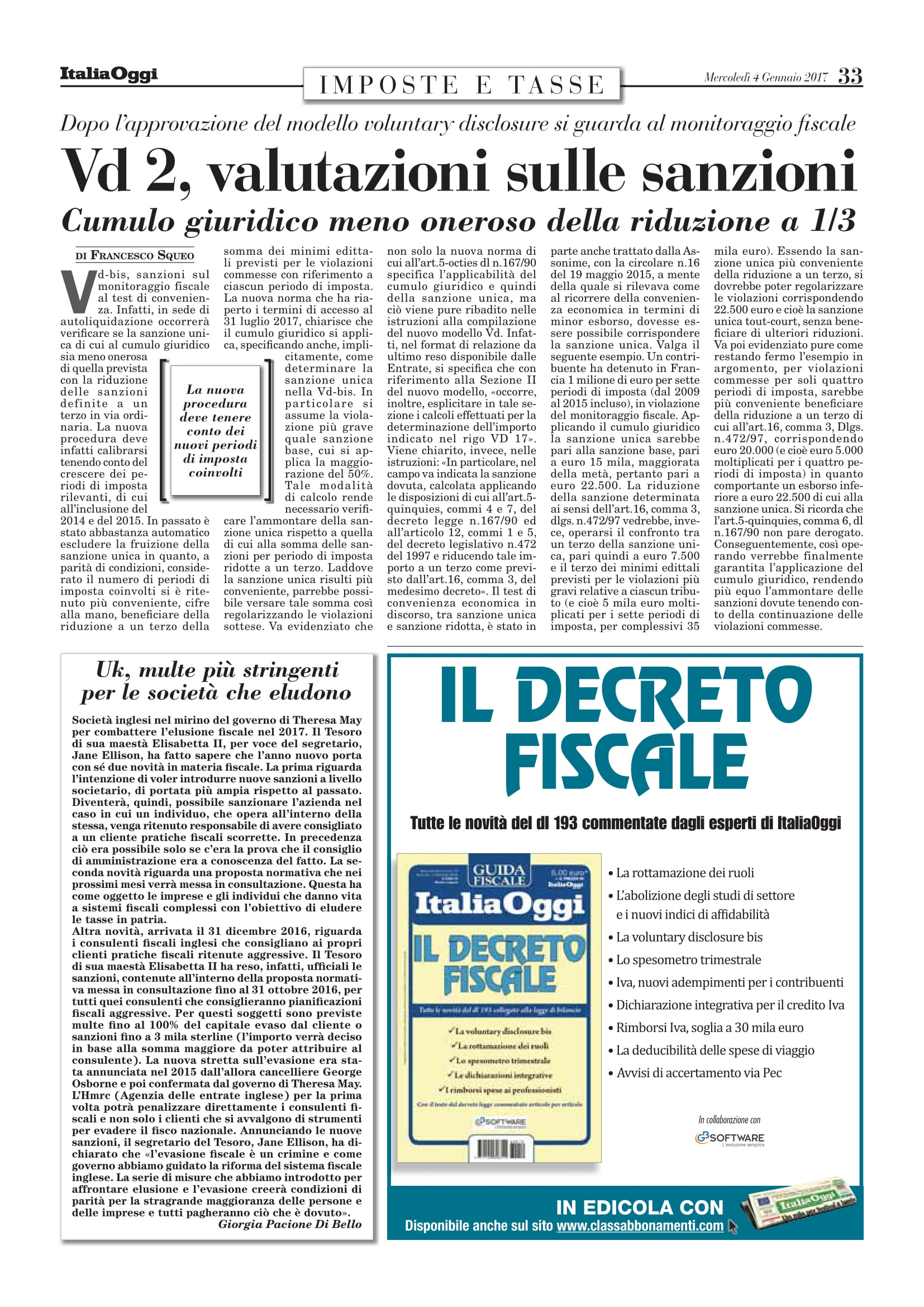 pubblicazione su italiaoggi a Milano
