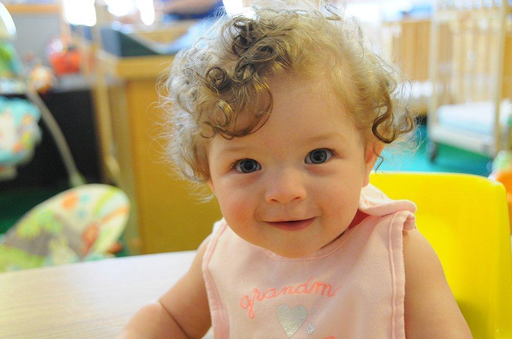 Cute little girl enjoying herself at the academy in Alpharetta, GA