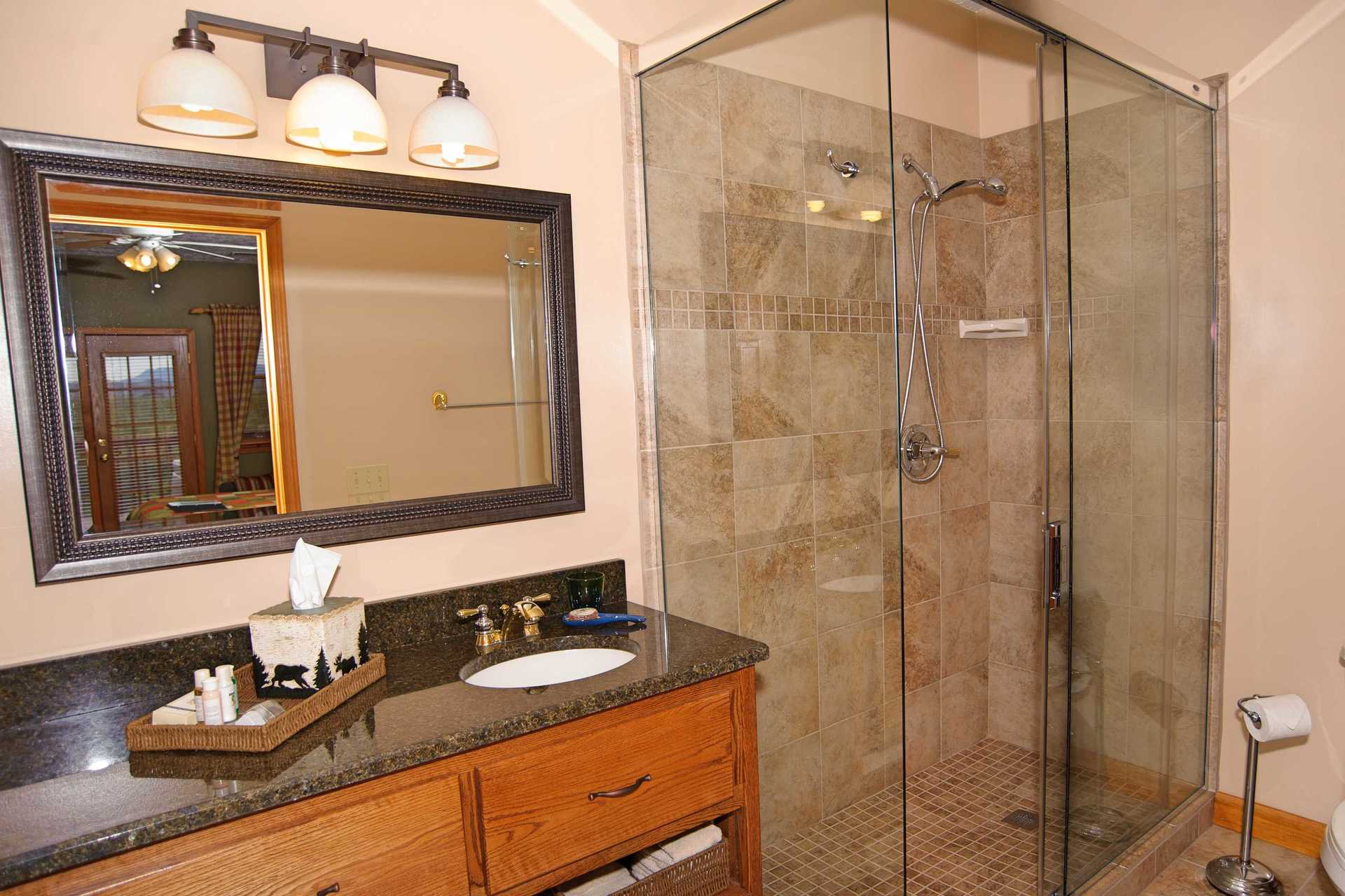 luxury glass shower and granite top