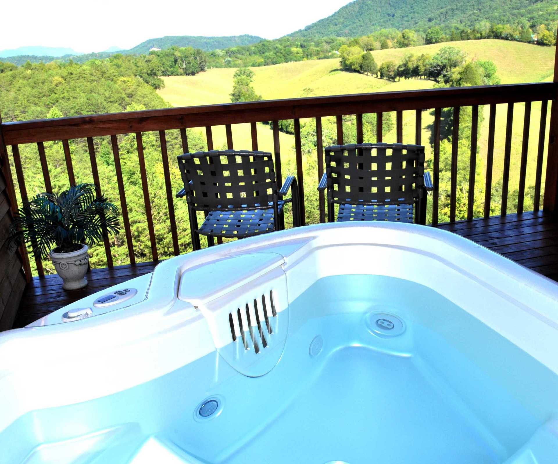 hot tub looking at smoky mountains