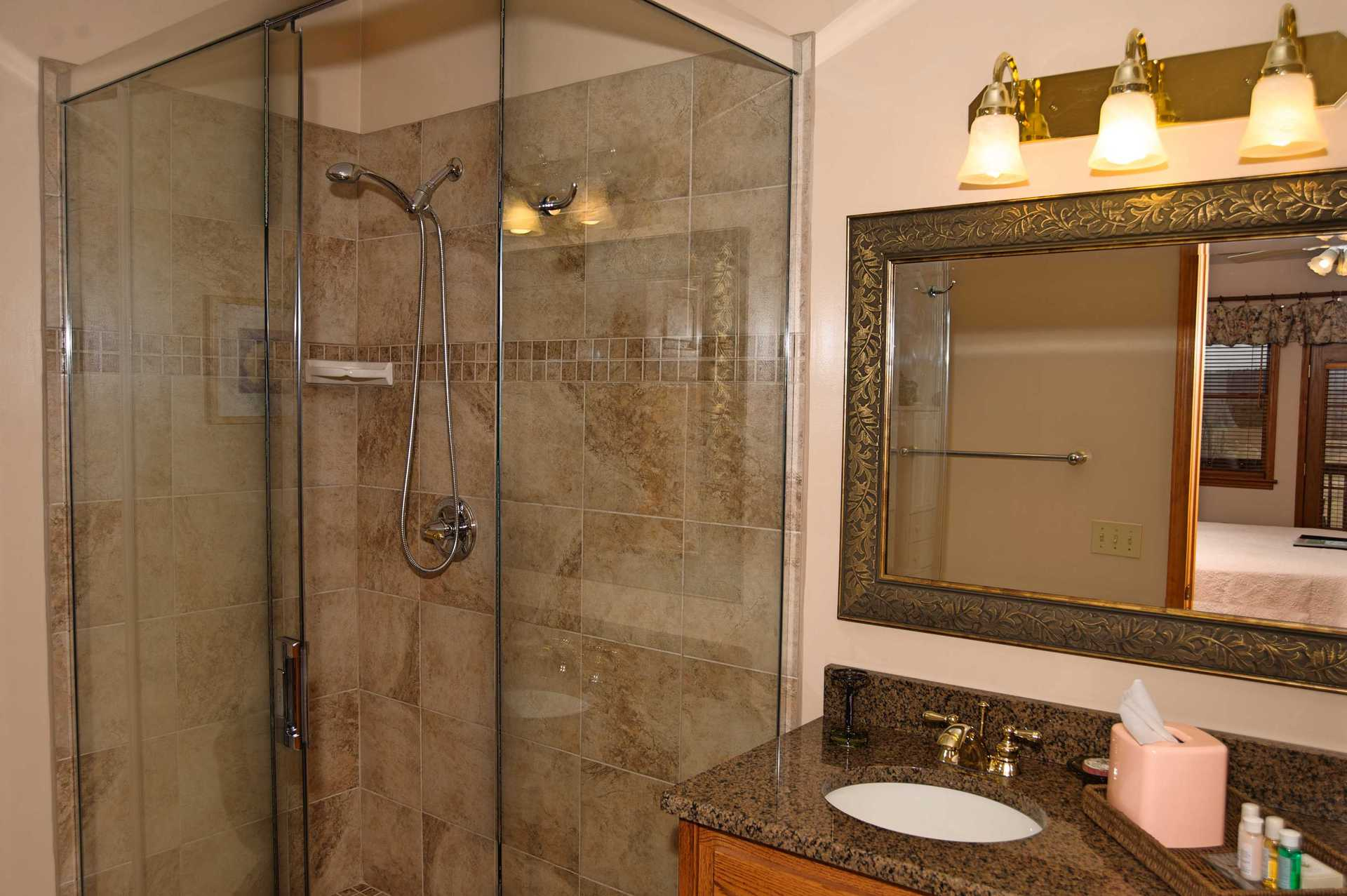 Newberry glass shower and vanity
