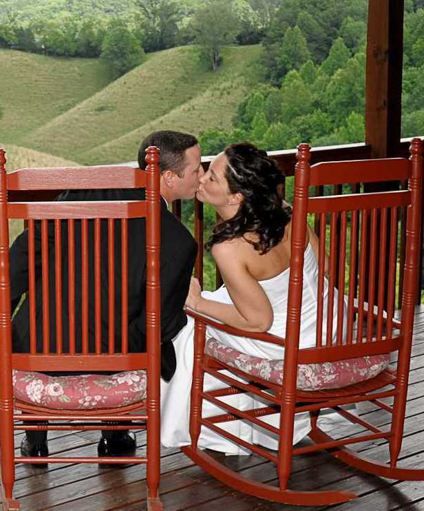 Just a Kiss after this Gatlinburg Wedding Ceremony