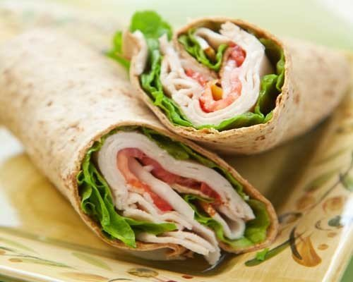 Roasted Turkey, Provolone Cheese, Lettuce Tomato, Mayonnaise wrapped in a Flour Tortilla.