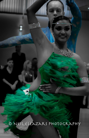 rubies dance centre dancers on black and white with green costume focus