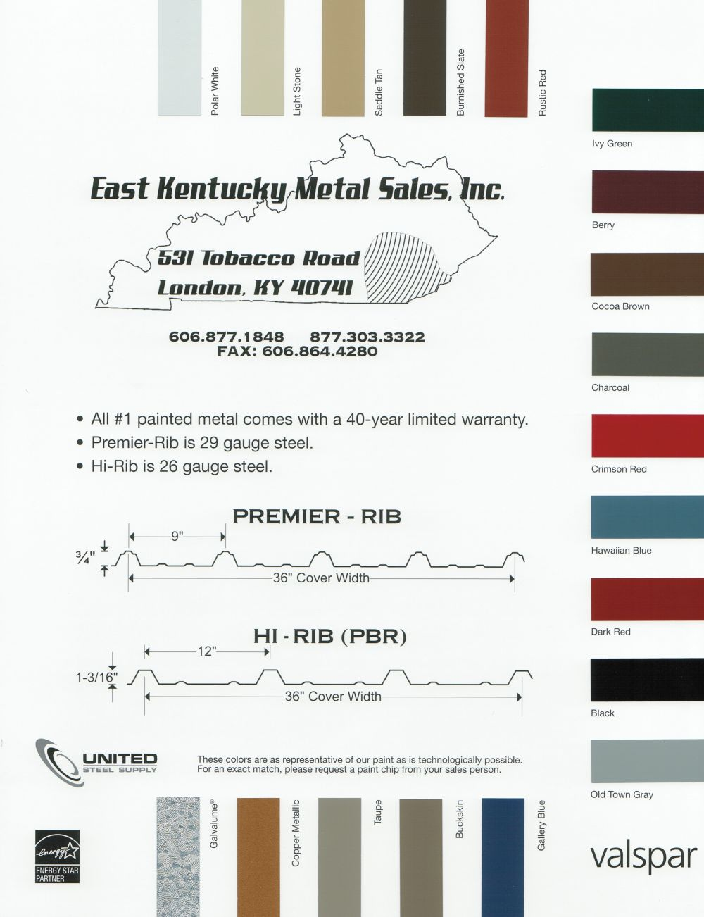 Metal Color Chart
