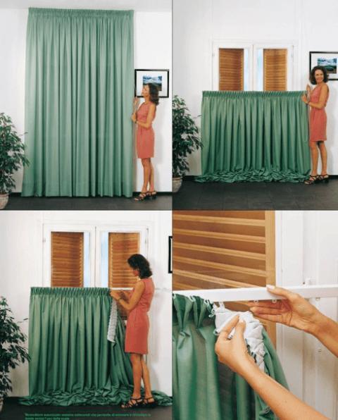 Saliscendi: sistema che permette lo smontaggio delle tende senza l'uso della scala
