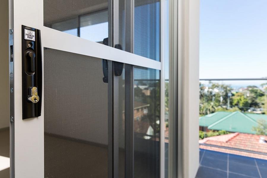 white framed screen door