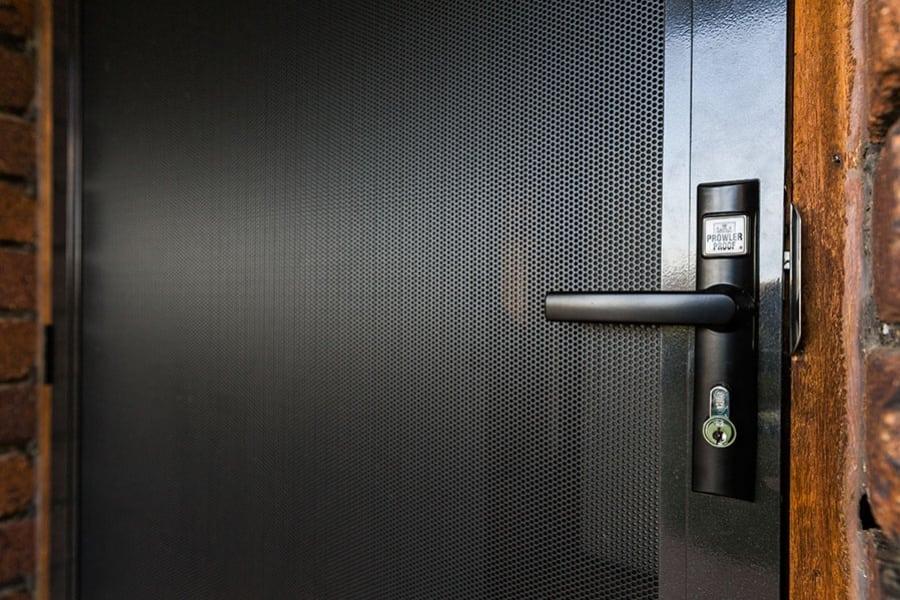 close up of metal screen door