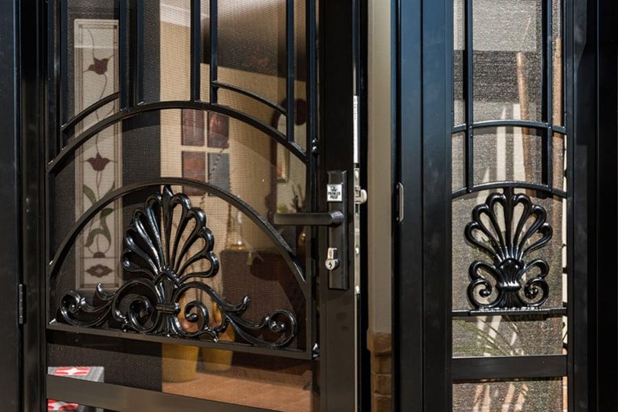 double doors with bars