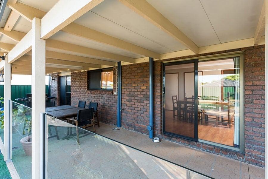 patio with sliding secure door