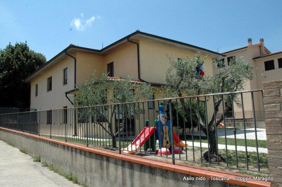 vista di una ringhiera , uno scivolo e degli alberi in un giardino dell'asilo