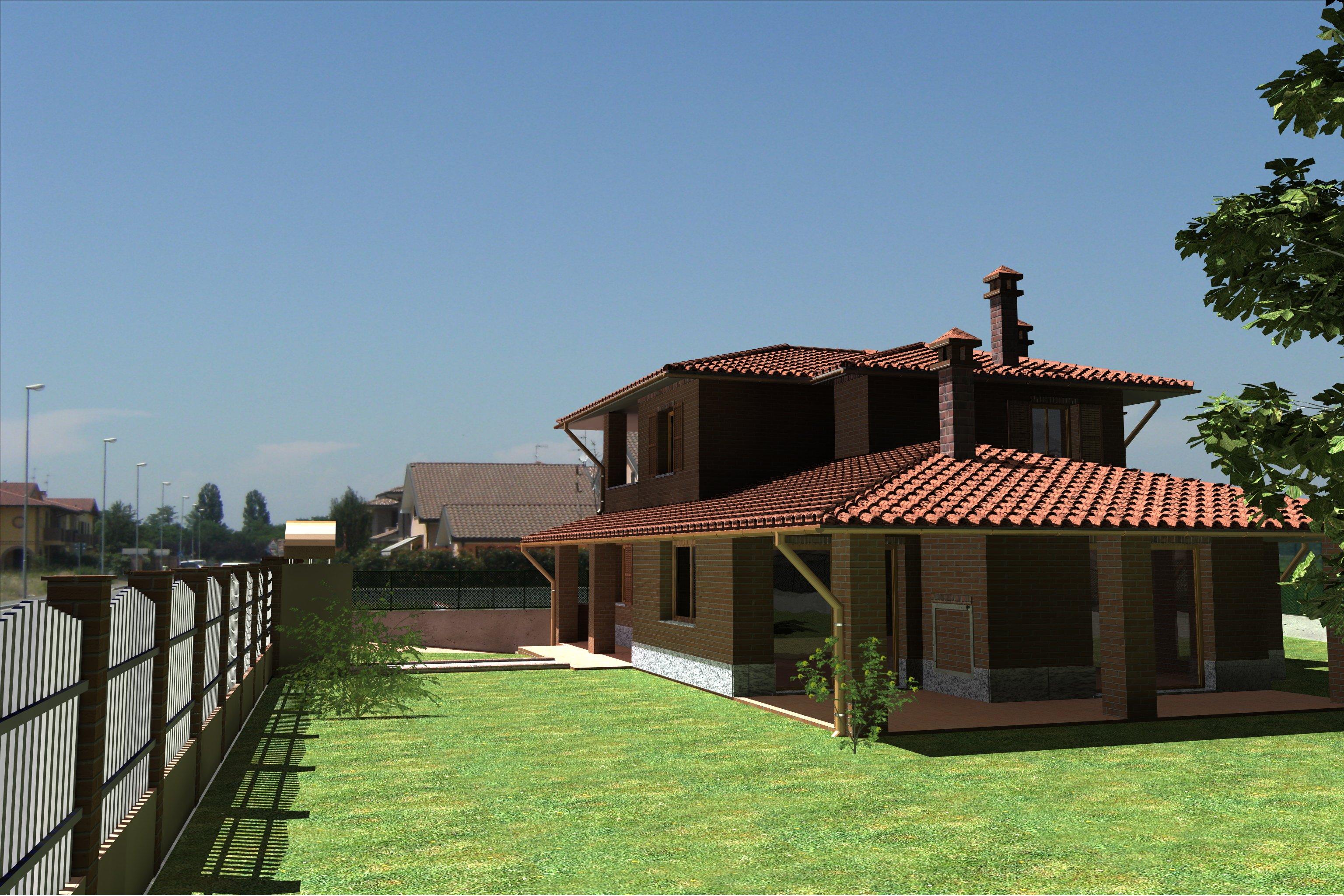 Modello 3D di una villetta con cortile