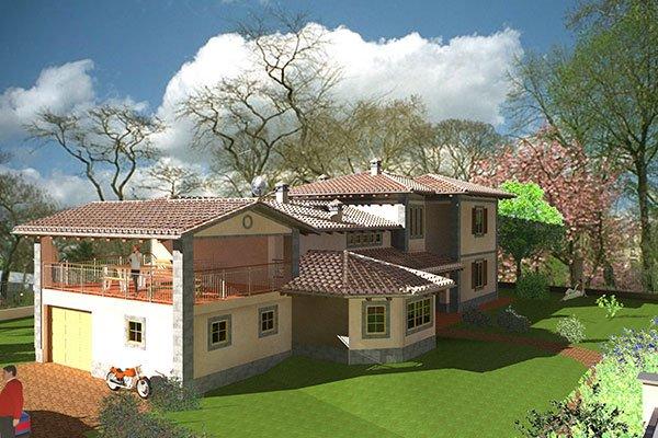 Modello 3D di una villa con cortile