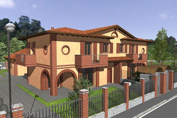 Modello 3D di una villa con cortile e recinzione in ferro e mattoni