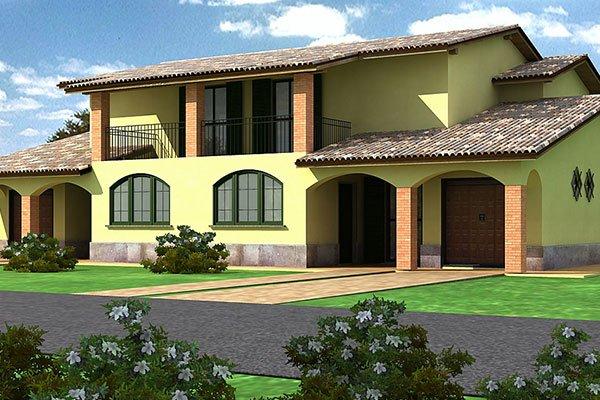 una villetta gialla a due piani con giardino davanti realizzata al pc