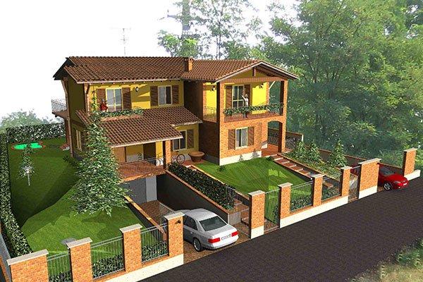 immagine dall'alto di una villa realizzata al computer con un ampio giardino davanti e sul retro, un grande albero sulla sinistra e una macchina parcheggiata