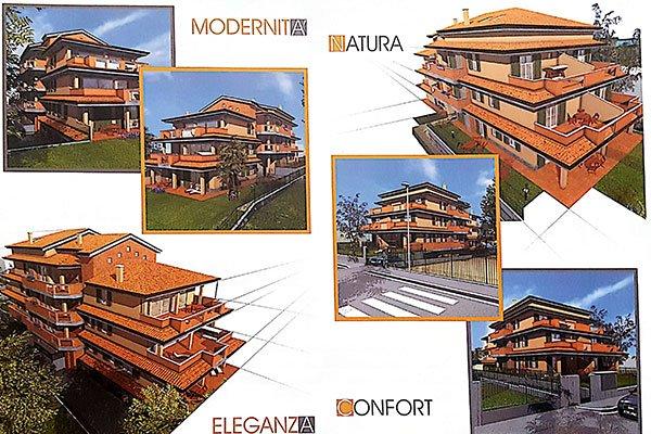 un'immagine raffigurante delle villette con scritto Modernità, Natura, Eleganza, Comfort