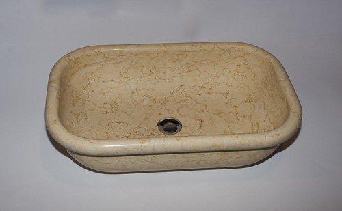 lavabo rettangolare in marmo ocra
