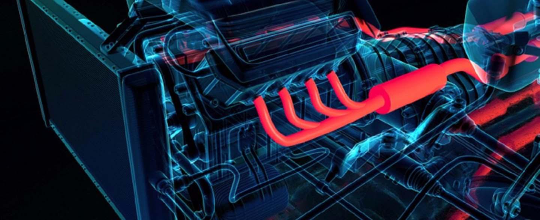 disegno 3D motore auto