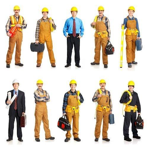 operai con casco da lavoro