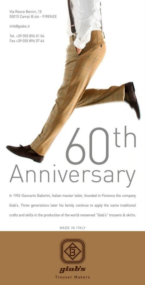 un depliant con scritto 60th Anniversary Giab's