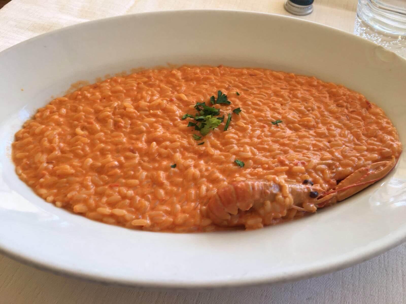 risotto agli scampi con salsa rosa
